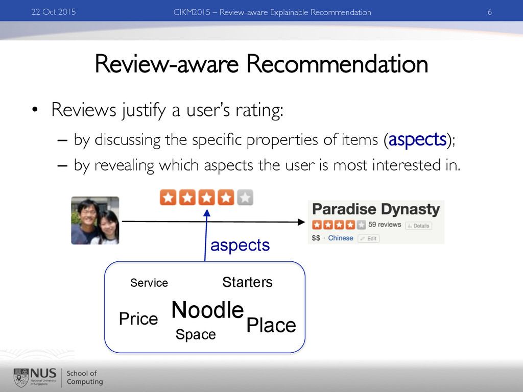 Review-aware Recommendation •  Reviews justify ...