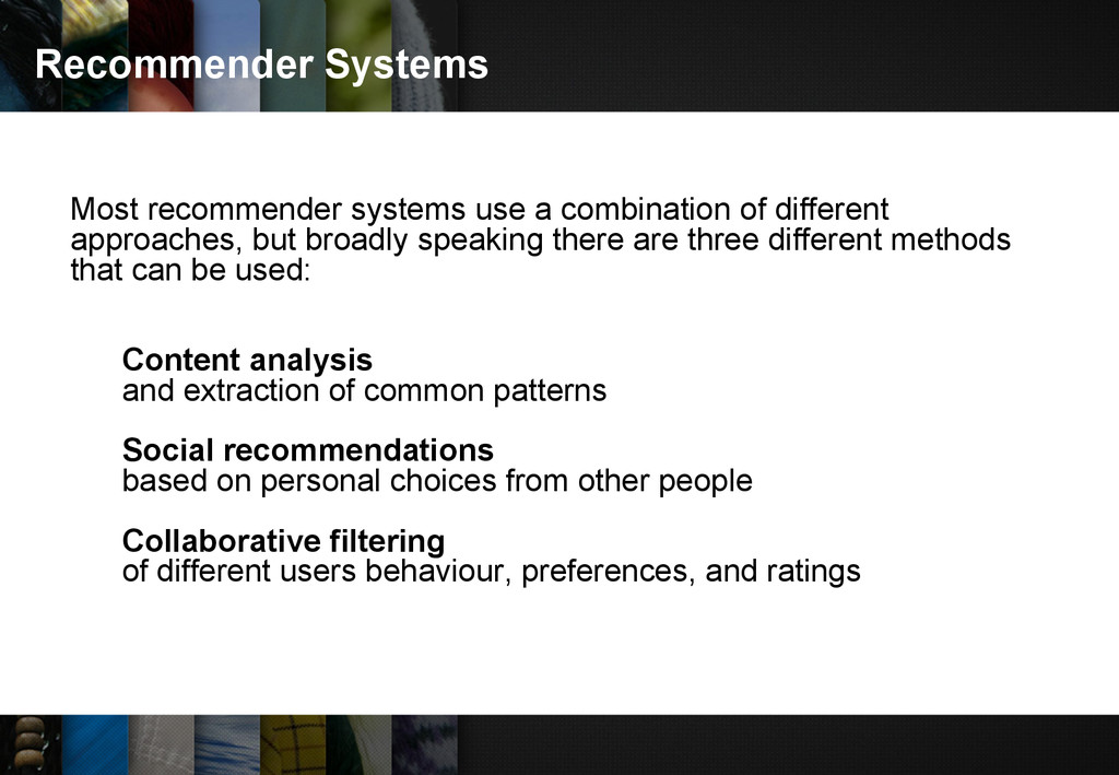 Recommender Systems Most recommender systems us...