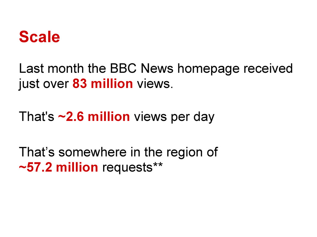 Scale Last month the BBC News homepage received...