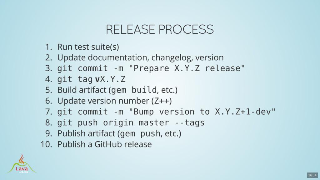 "git commit -m ""Prepare X.Y.Z release"" git tag v..."