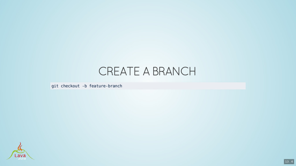 git checkout -b feature-branch 13 . 4