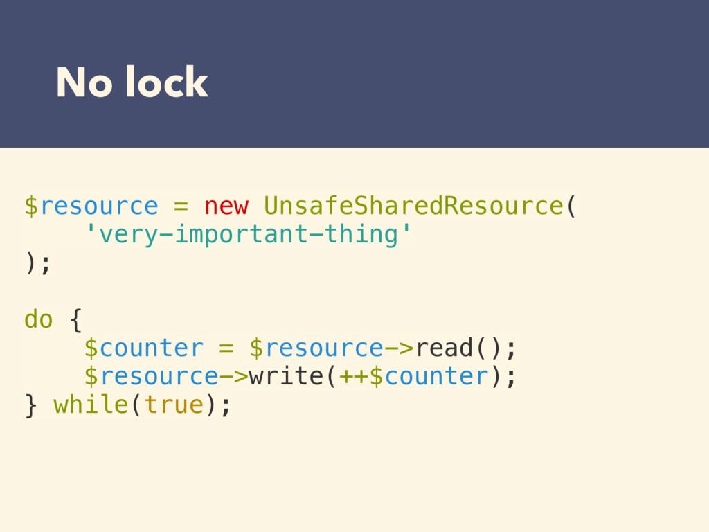 No lock $resource = new UnsafeSharedResource( '...