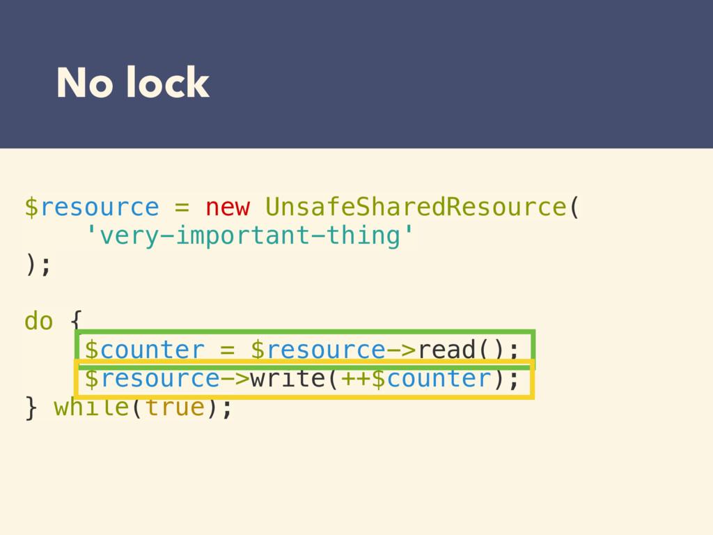 $resource = new UnsafeSharedResource( 'very-imp...