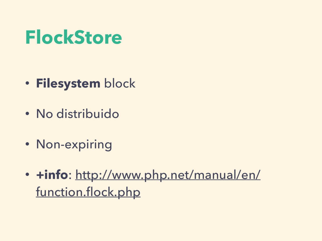 FlockStore • Filesystem block • No distribuido ...
