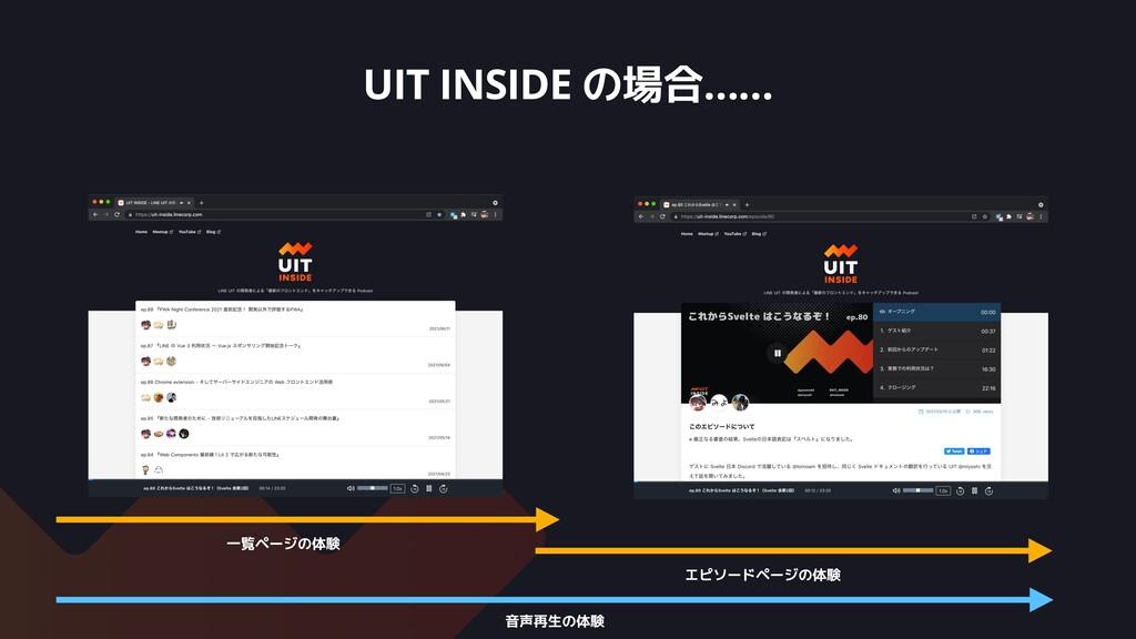 UIT INSIDE の場合…… 一覧ページの体験 エピソードページの体験 音声再生の体験