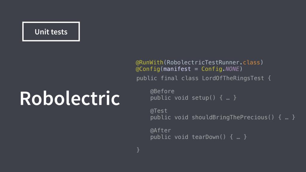 @RunWith(RobolectricTestRunner.class) @Config(...