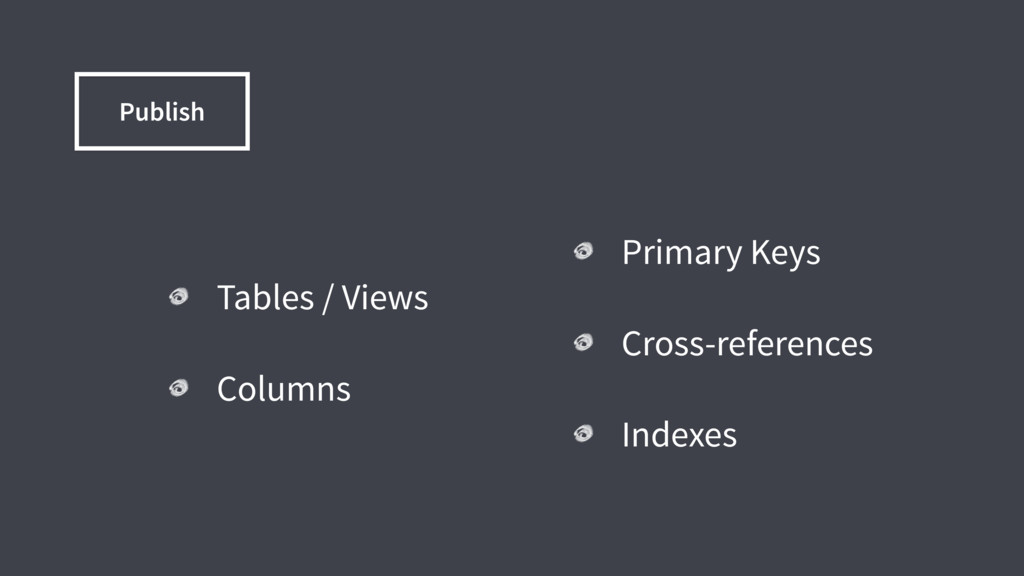 Tables / Views Columns Primary Keys Cross-refer...