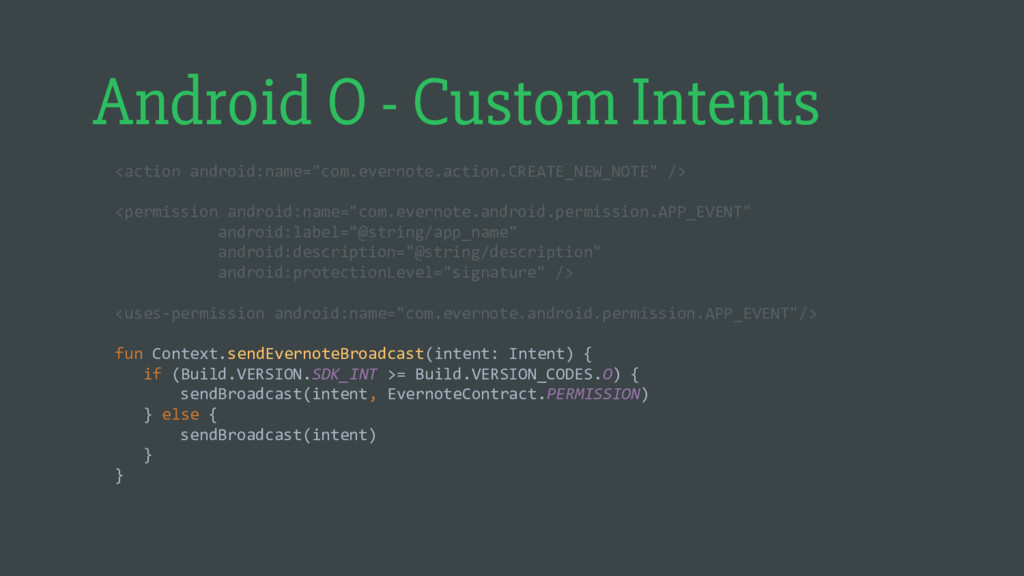 Android O - Custom Intents <action android:name...