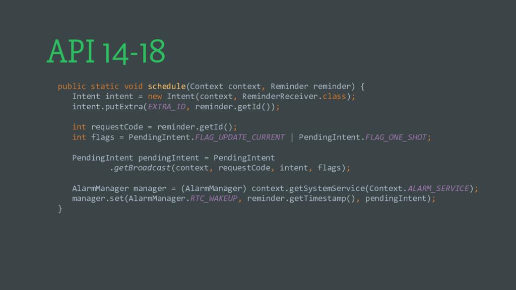 API 14-18 public static void schedule(Context c...