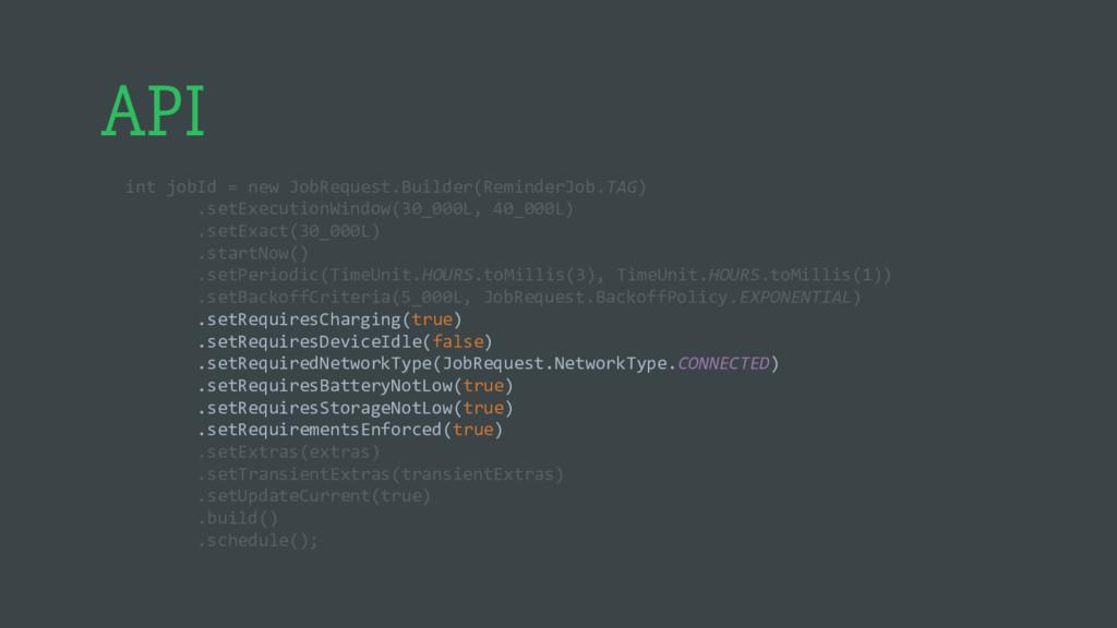 API int jobId = new JobRequest.Builder(Reminder...