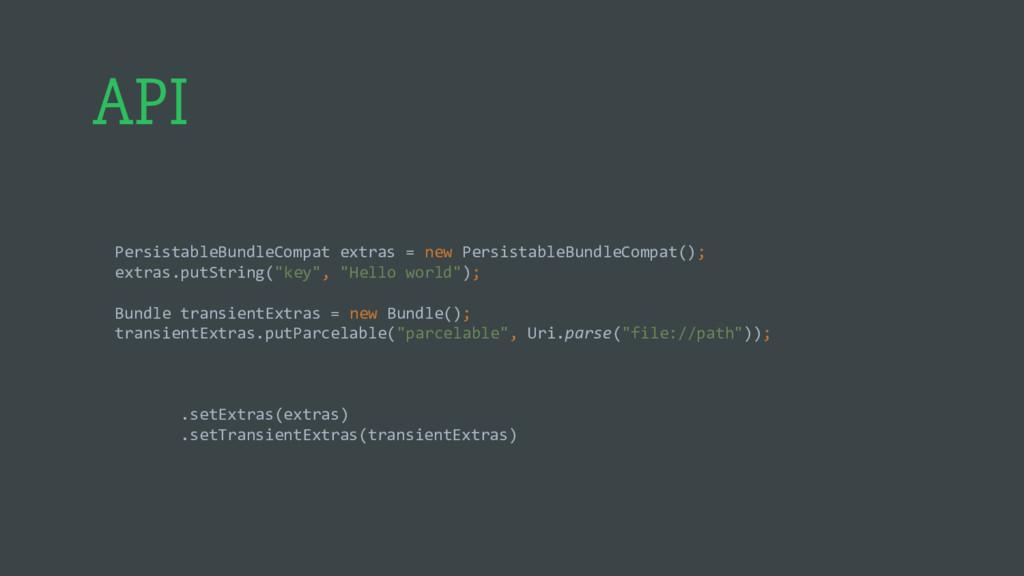 API PersistableBundleCompat extras = new Persis...