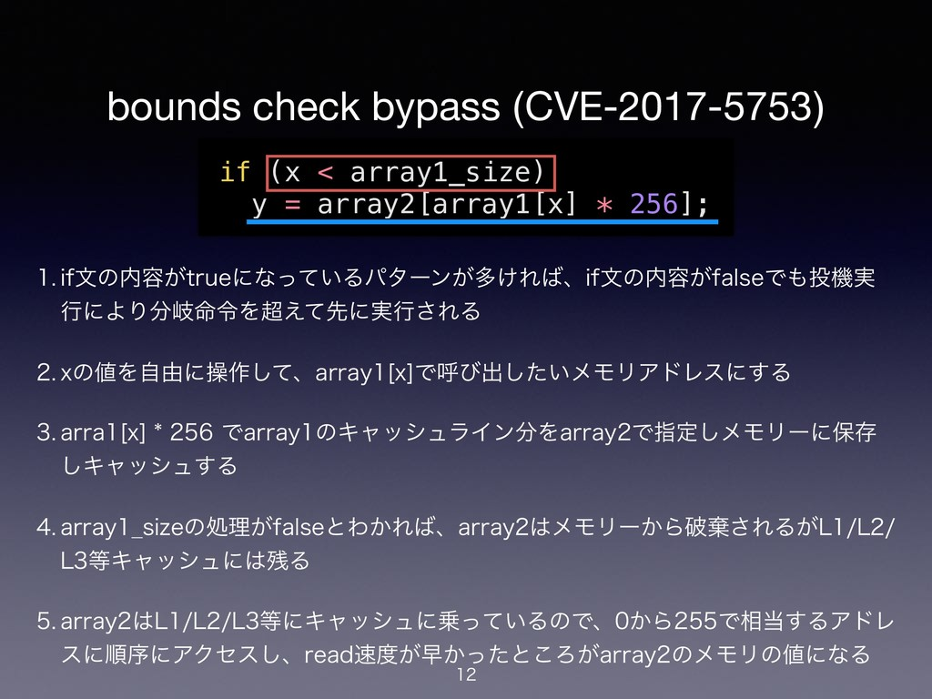 bounds check bypass (CVE-2017-5753)  JGจͷ༰͕U...