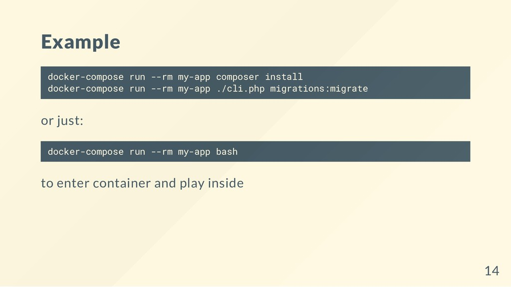Example docker-compose run --rm my-app composer...