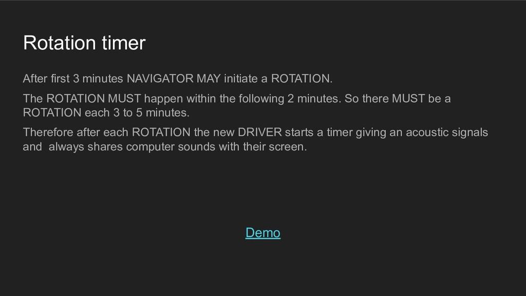 Rotation timer After first 3 minutes NAVIGATOR ...