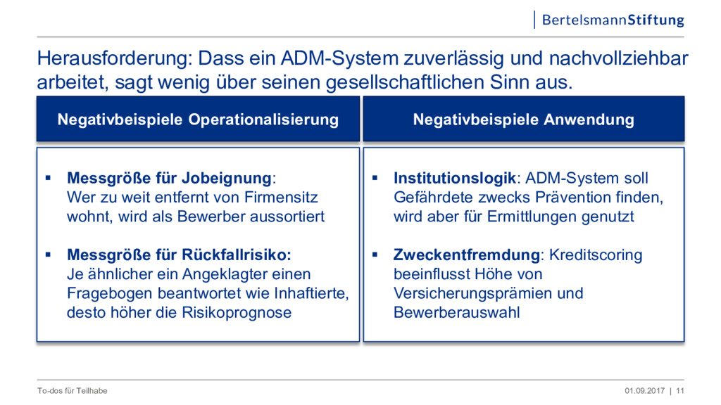 Herausforderung: Dass ein ADM-System zuverlässi...