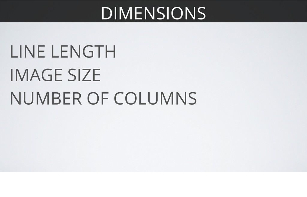 DIMENSIONS LINE LENGTH IMAGE SIZE NUMBER OF COL...
