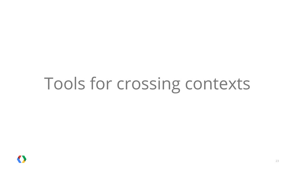 23 Tools for crossing contexts