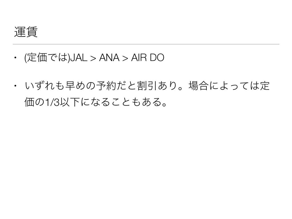 ӡ • (ఆՁͰ)JAL > ANA > AIR DO • ͍ͣΕૣΊͷ༧ͩͱׂҾ͋Γ...