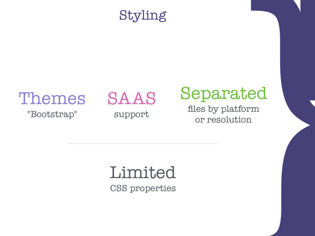 "Styling } Limited CSS properties Themes ""Bootst..."