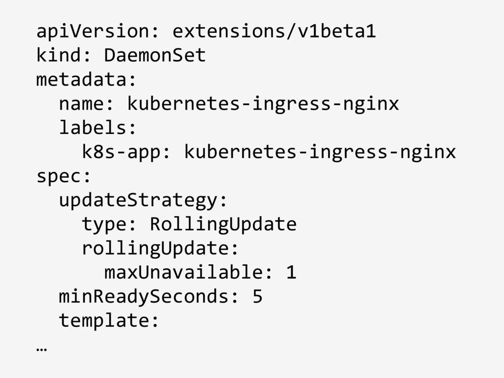 apiVersion: extensions/v1beta1 kind: DaemonSet ...