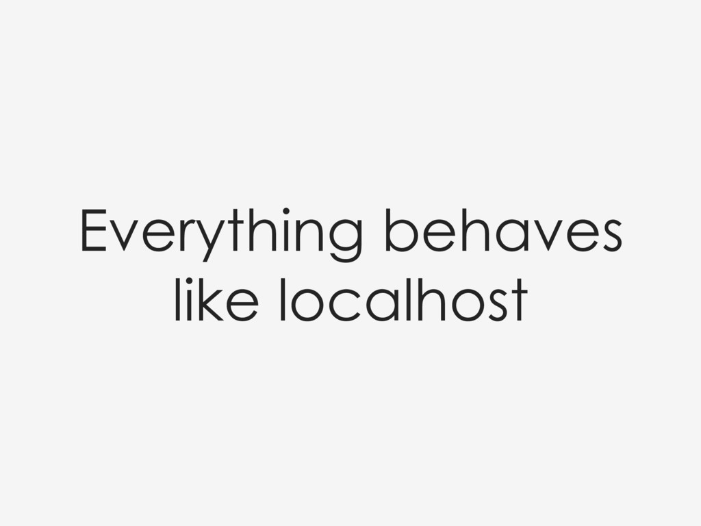 Everything behaves like localhost