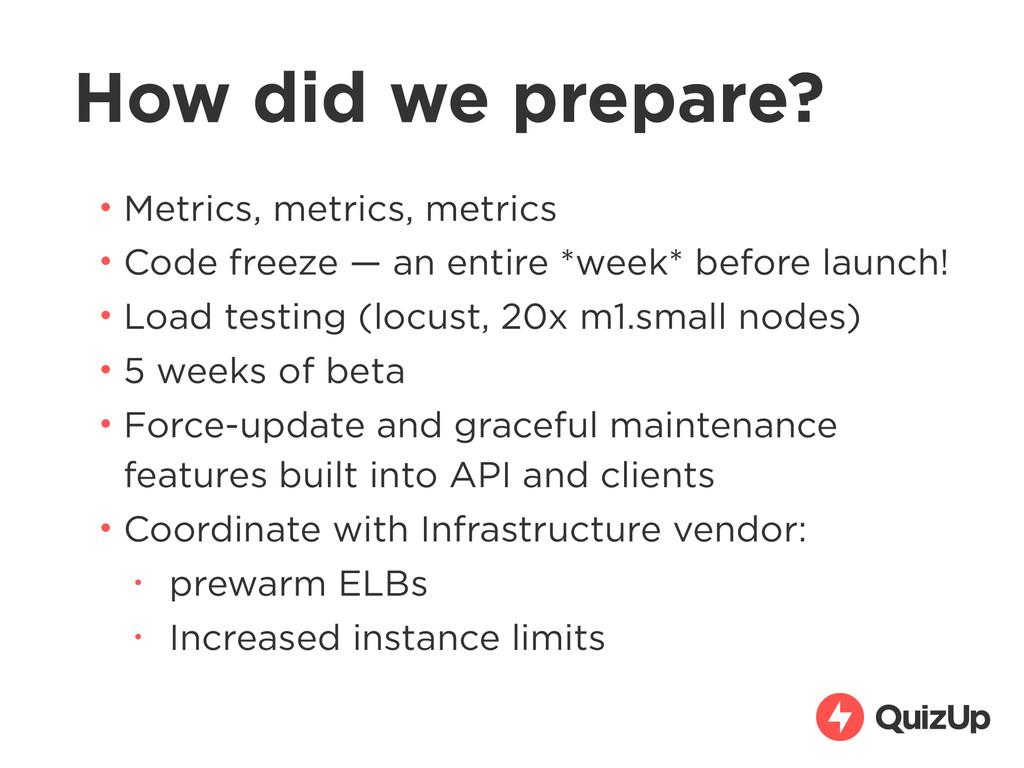 How did we prepare? • Metrics, metrics, metrics...