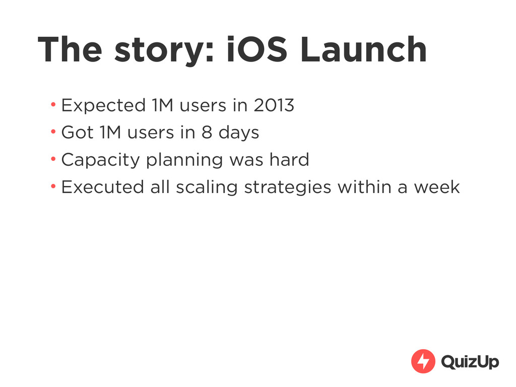 The story: iOS Launch • Expected 1M users in 20...