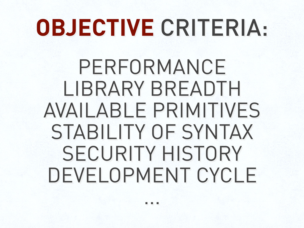 OBJECTIVE CRITERIA: PERFORMANCE LIBRARY BREADTH...