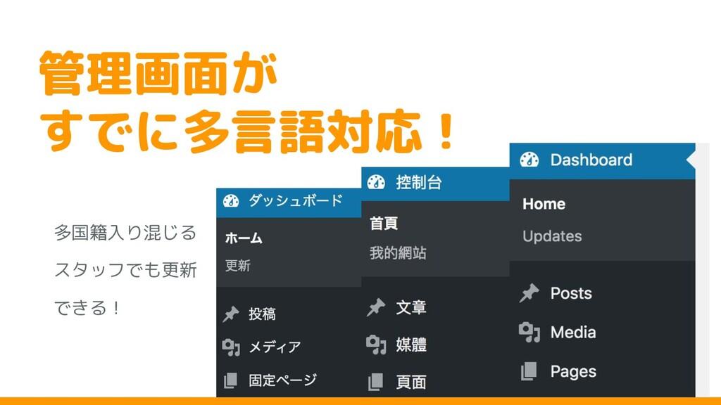 管理画面が すでに多言語対応! 多国籍入り混 る スタッフでも更新 で る!