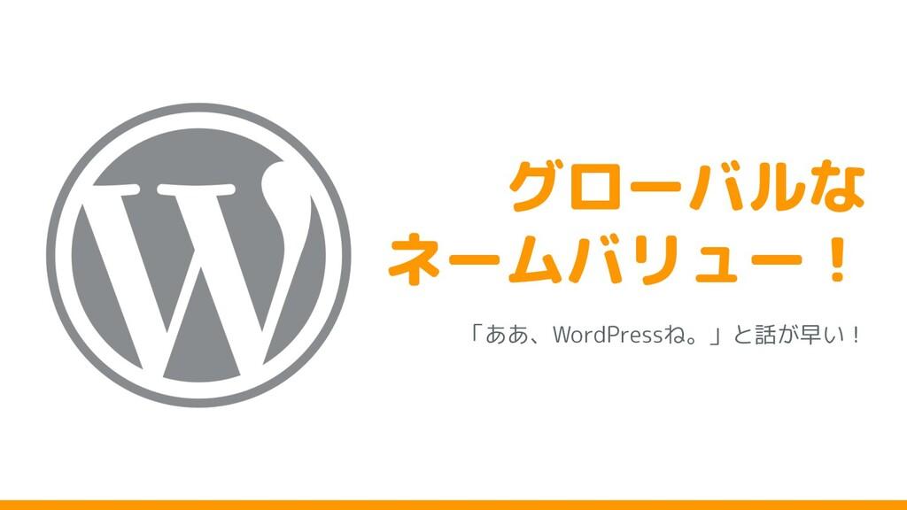 グローバルな ネームバリュー! 「ああ、WordPressね。」と話 早い!