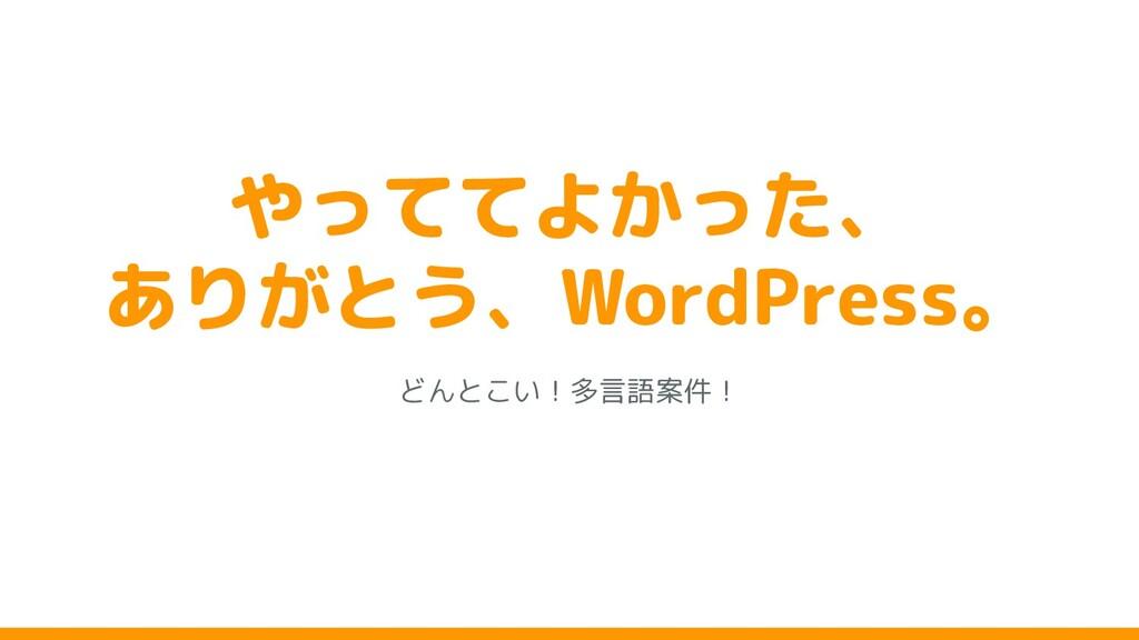やっててよかった、 ありがとう、WordPress。 どんと い!多言語案件!