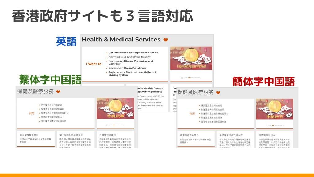 香港政府サイトも3言語対応 英語 繫体字中国語 簡体字中国語