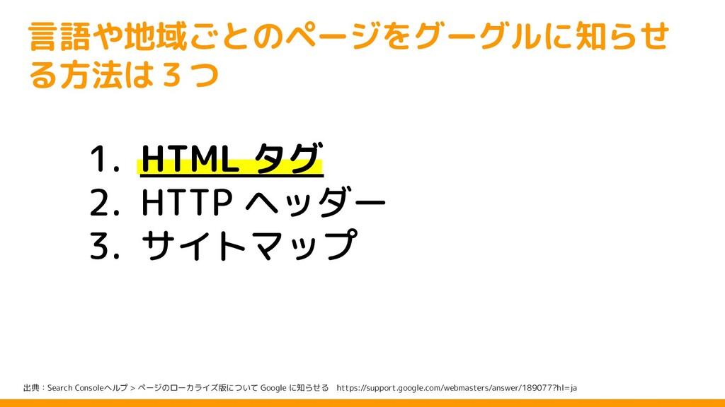 1. HTML タグ 2. HTTP ヘッダー 3. サイトマップ 出典:Search Con...