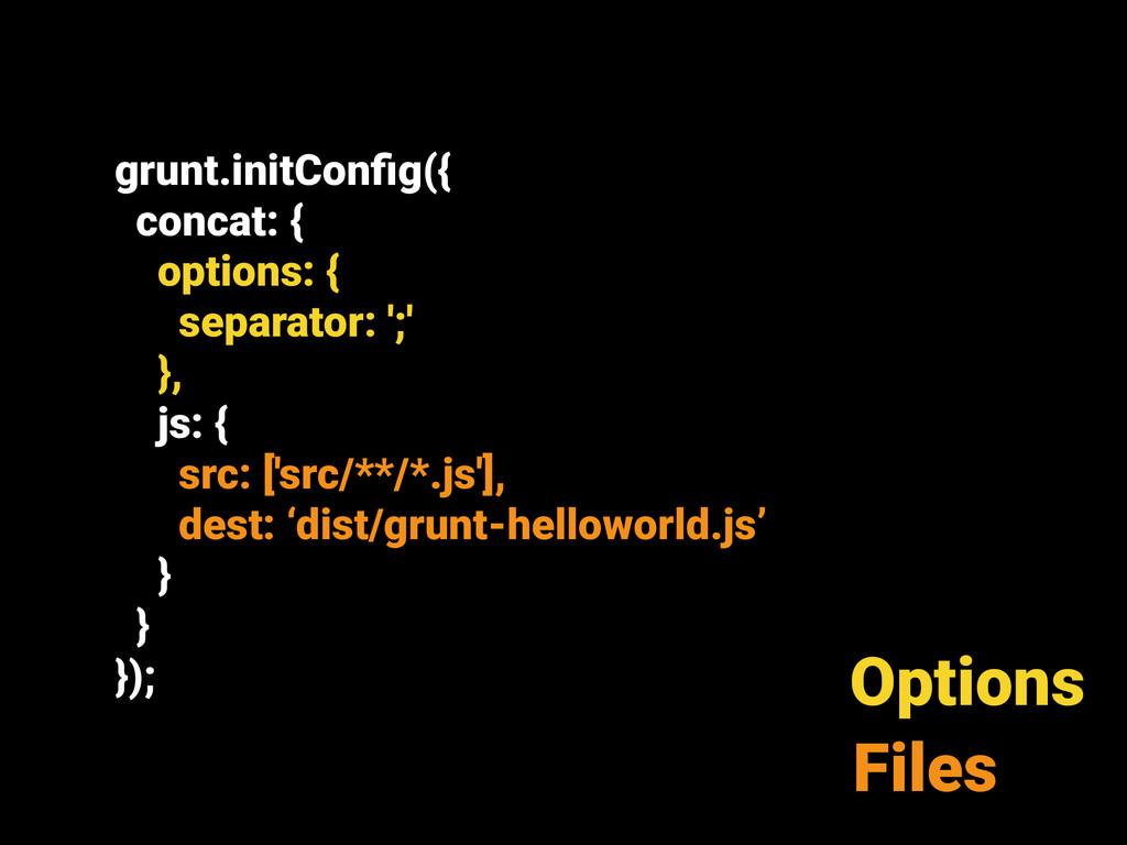 grunt.initConfig({ concat: { options: { separato...