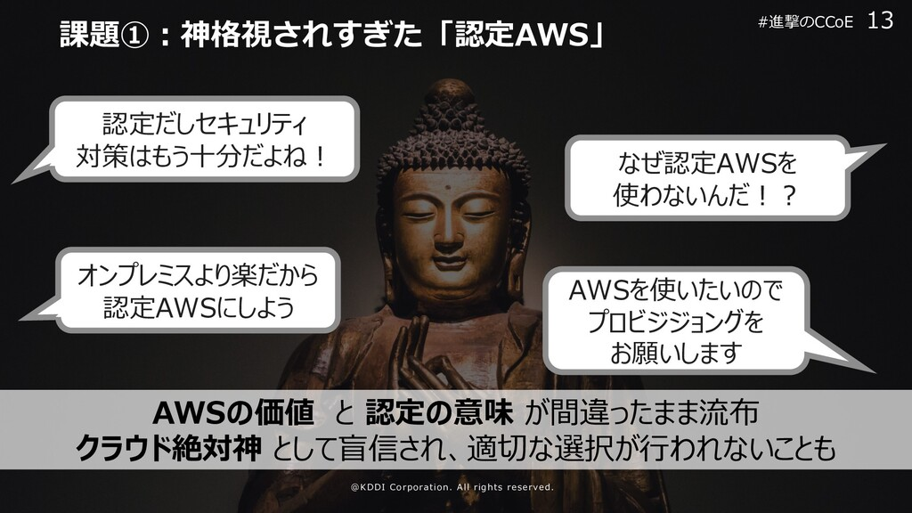 認定だしセキュリティ 対策はもう⼗分だよね︕ なぜ認定AWSを 使わないんだ︕︖ オンプレミス...