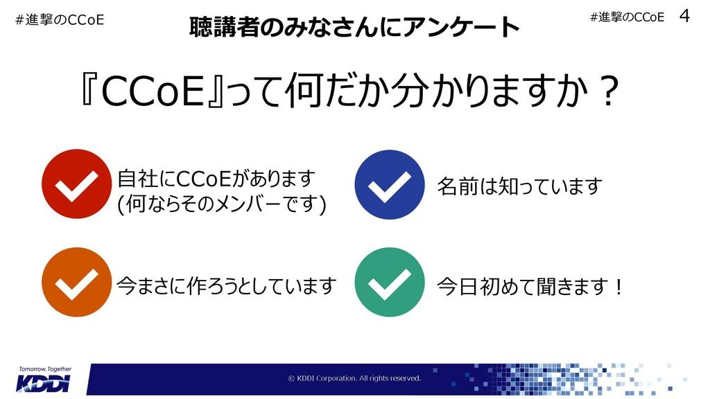 聴講者のみなさんにアンケート 『CCoE』って何だか分かりますか︖ ⾃社にCCoEがあります ...