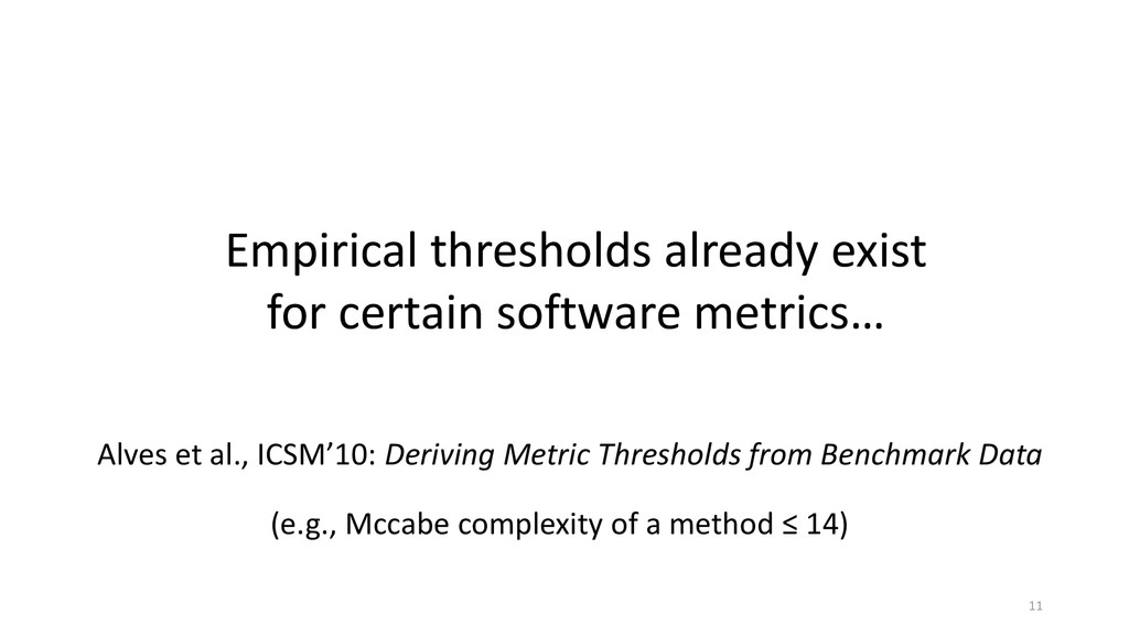Empirical thresholds already exist for certain ...