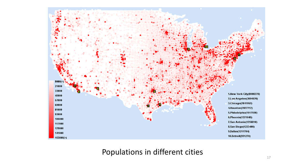 Populations in different cities 17