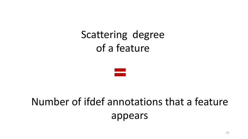 Scattering degree of a feature Number of ifdef ...