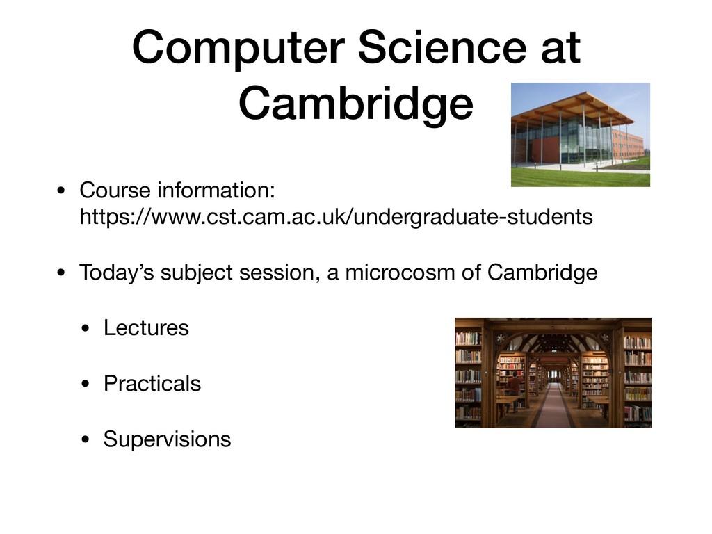 Computer Science at Cambridge • Course informat...