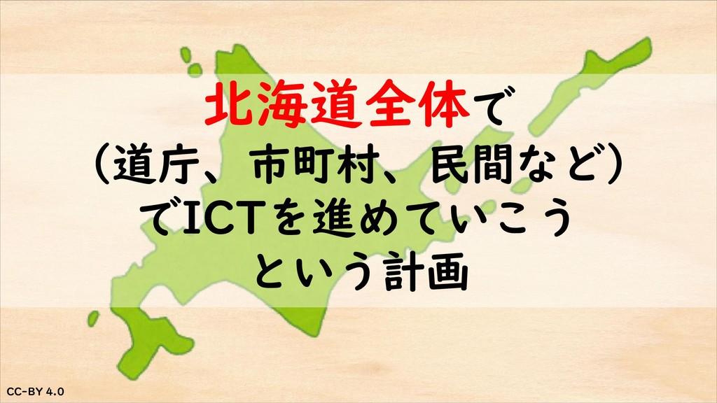 CC-BY 4.0 CC-BY 4.0 北海道全体で (道庁、市町村、民間など) でICTを進...