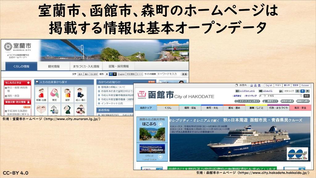 CC-BY 4.0 CC-BY 4.0 室蘭市、函館市、森町のホームページは 掲載する情報は基...