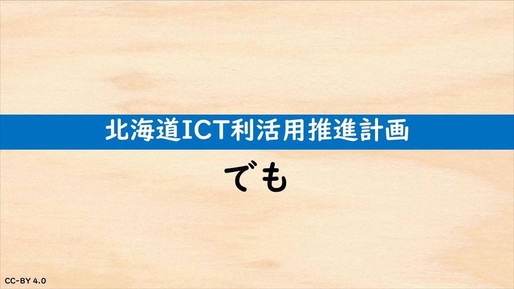 CC-BY 4.0 CC-BY 4.0 北海道ICT利活用推進計画 でも