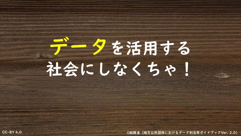 CC-BY 4.0 CC-BY 4.0 データを活用する 社会にしなくちゃ! ©総務省(地⽅公...