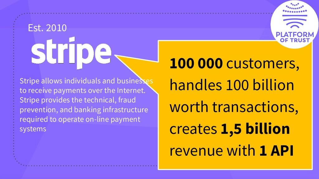 100 000 customers, handles 100 billion worth tr...