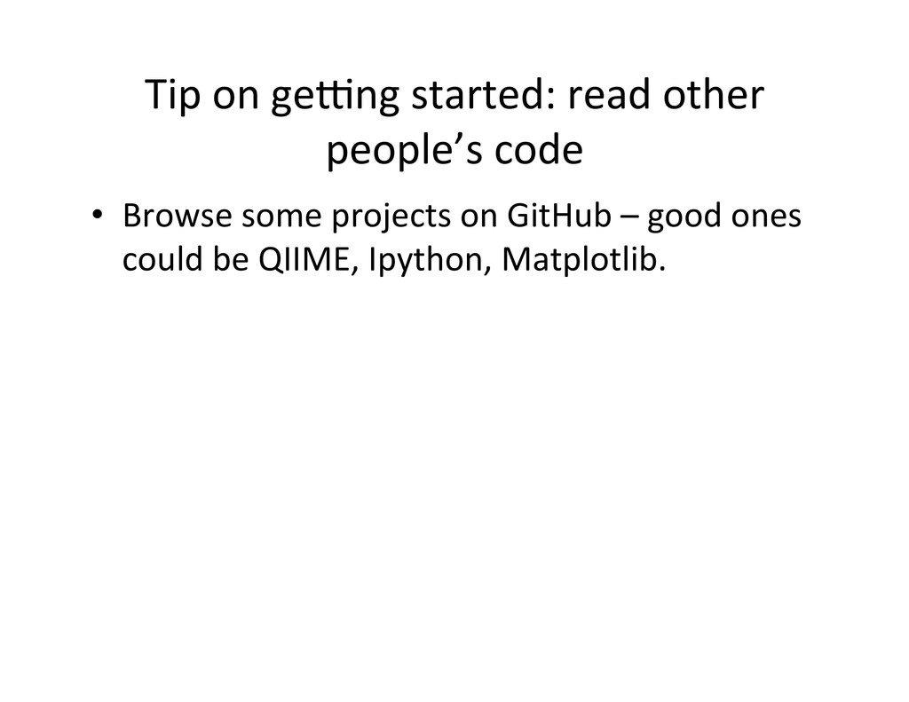 Tip on ge\ng started: read other...