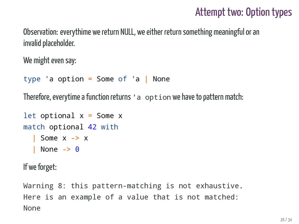 Attempt two: Option types Observation: everythi...