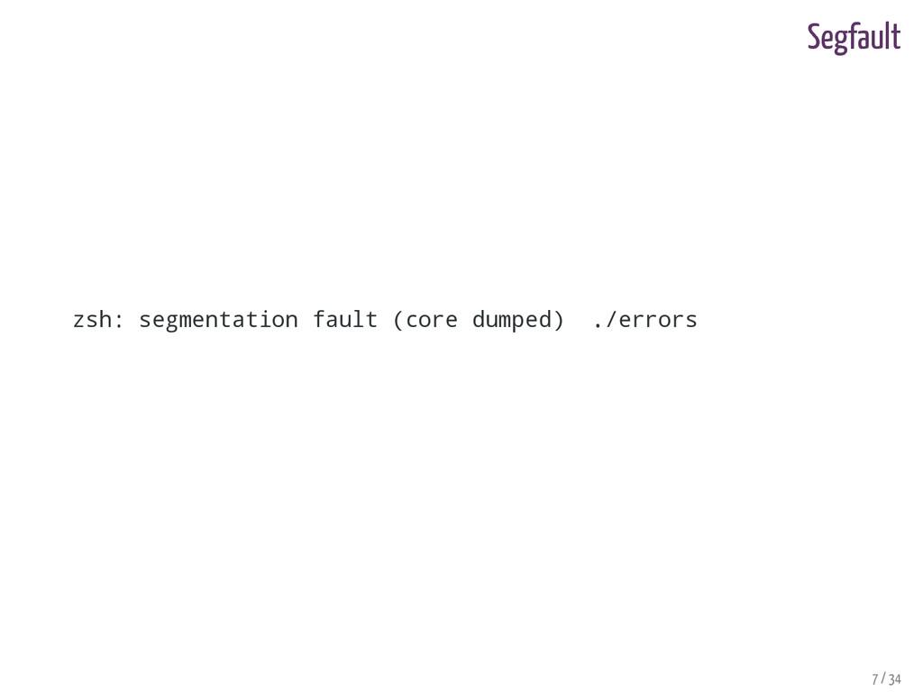 Segfault zsh: segmentation fault (core dumped) ...