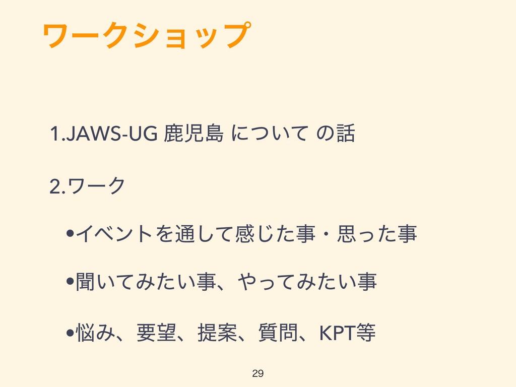 ϫʔΫγϣοϓ 1.JAWS-UG ࣛౡ ʹ͍ͭͯ ͷ 2.ϫʔΫ •ΠϕϯτΛ௨ͯ͠ײ͡...