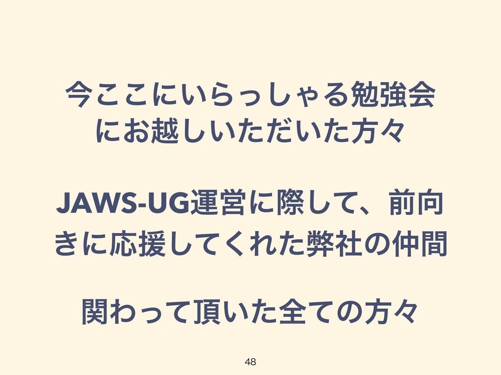 ࠓ͜͜ʹ͍Βͬ͠ΌΔษڧձ ʹ͓ӽ͍͍ͨͩͨ͠ํʑ JAWS-UGӡӦʹࡍͯ͠ɺલ ͖ʹԠԉ...
